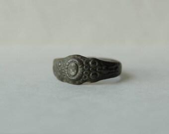 Genuine Ancient Bronze Signet Ring  c. 450 - 900 CE