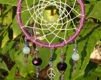 Purple Peace - Dream catcher, sun catcher, designed to reflect the sun, features glass beads and peace sign.