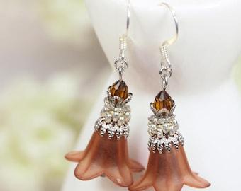 DIY Earrings Kit, DIY Jewelry Kit, Brown Lucite Flower Earrings Kit, Brown Flower Earrings Kit, Brown Earrings Kit, DIY Beading Kit