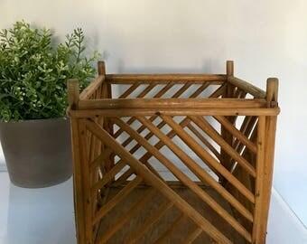 Vintage Wood Planter Chippendale Lattice Chinoiserie Gardening Box Hollywood Regency