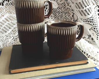 Chocolate Brown and Cream-Colored Stackable Earthenware Mugs