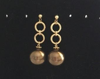 Bronze Pearl Earrings by Dobka
