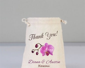 Orchid, Orchid Wedding, Orchid Wedding Favor, Welcome Bag, Personalize Bag, Orchid Flower, Hawaii, Bridal Bag, Drawstring Cotton Bag, Hawaii