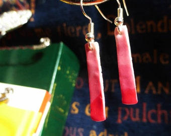 White to Pink Rectangle Gradient Earrings
