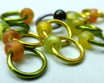 Hand made stitch markers, set of 11, Citrus Zing