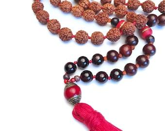 108 Mala Beads, Mala Necklace, Garnet, Tassel Necklace, Meditation Necklace