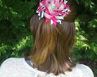 Pink, Silver, Black, and White Boutique Hair Bow with Clip