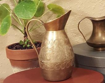 Medium vintage brass pitcher.  Etched brass pitcher vase.  Bohemian brass carafe, vase, pitcher.