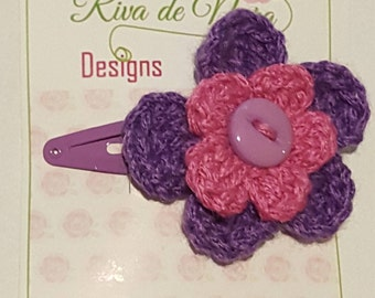 Pink and purple flower hair clip