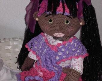 Doll black beauty woolen hook approx 64 cm.