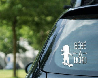 "Sticker "" Bébé à bord "" skateboarding, skater girl, vinyl on decal paper, car decals, kid on board"