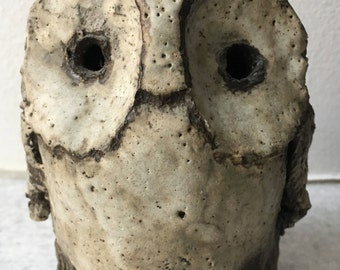 Vintage Abstract Retro Ceramic Owl Figurine (1970's)