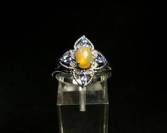 Vintage Ethiopian Welo Opal with Tanzanite, White Diamond Sterling Silver Ring