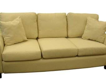 Faith Sofa in Natural Canvas Fabric - Customization Available