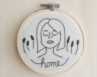 """Embroidered Girl with Grass and """"Home"""" / Modern Embroidery / Wall Art / Home Decor / Peaceful Vibes"""