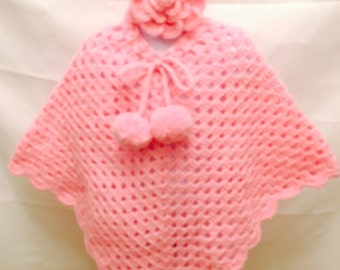 Ready to Ship! Girl's Beautiful Pink Granny Square Poncho and Flower Ear-warmer Set- Fits ages 4-8 years