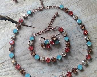 8mm Pacific Padparadscha Three Piece Jewelry Set