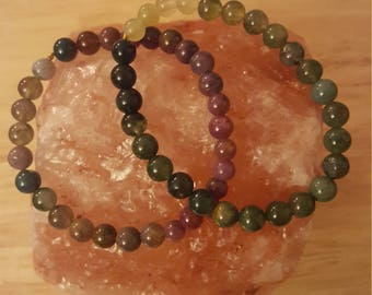 A pair of Indian agate gemstone bracelets
