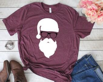 Santa Shirt, Hipster Santa Shirt, Santa Clause Shirt, Christmas Shirt, Hipster Christmas Shirt, Santa with Glasses Shirt, Custom Santa Shirt