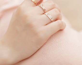 Dainty Personalized Ring • Custom Name Ring • Name rings for women • Customized name • Personalized Name Ring • Valentine day gifts•#RPNX009