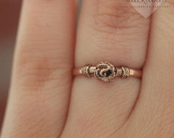 Rose Gold Sterling Silver Rose Ring, Pinky Ring, Rose Flower Ring, Sterling Silver Rings, Flower Leaves Ring, Midi Ring, Stackable Ring