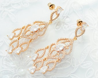 Gold wedding earrings Gold bridal earrings Crystal gold earrings  Wedding CZ earrings Wedding jewelry