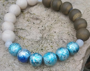 Serenity beaded bracelet in blue, gold druzy agate, sand  and ivory