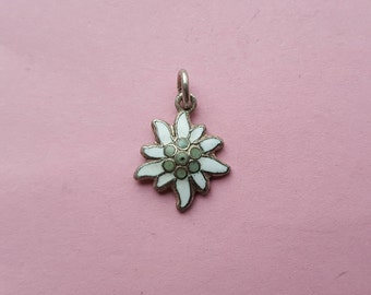 Antique silvered enameled medal pendant medaillon medaille medallion of a Edelweiss.