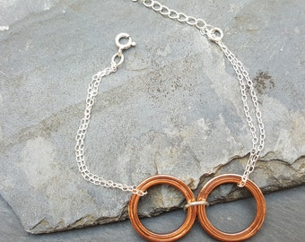 Copper circle bracelet, Circle bracelet, Handmade