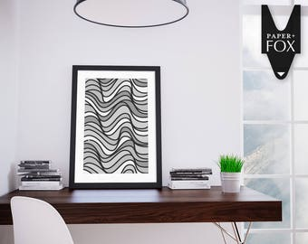 Waves Print, Printable Digital Art BW14