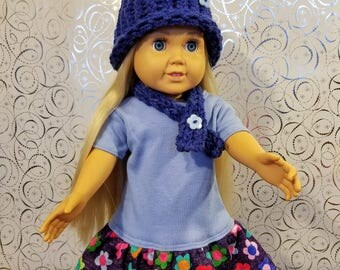 18 Inch Doll Clothes-Blue and Flower Designed Dress With Matching Hat and Scarf