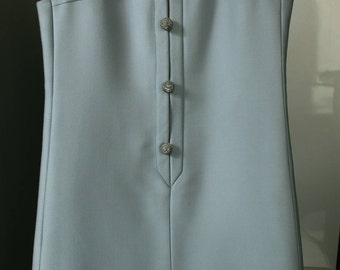 Vintage blue powder dress with buttons Jewelry