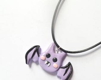 Kawaii Bat Necklace, Creepy Cute bat, Halloween Necklace, Kawaii Jewelry, cute Bat, Kawaii clay necklace, Bat jewelry