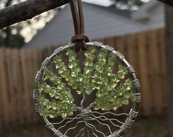 Peridot Gemstone Tree of Life Ornament / Sun Catcher