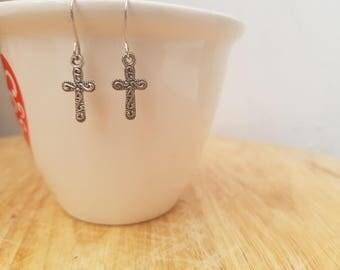 Handmade cross earrings with gift box. Bespoke, wedding, gift