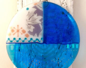 Blue bird, handmade, fused glass, decorative, inspired by arts & crafts movement