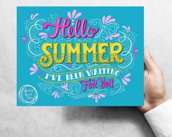 "Hello Summer, TEAL 7""x9"" Metal Wreath Signs W#4T"