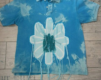 Polo turquoise space dye with a fringed Daisy