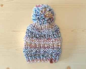 chunky knit hat with pom (adult)