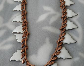 "Vintage Matisse Renoir Copper and White Enamel Leaf ""Laurel"" Necklace"