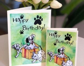 101 Dalmatians - Disney Birthday Greeting Cards - Single Watercolour Print