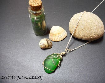 Sterling silver & sea glass necklace