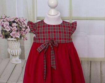 Designer Baby Dress, Red Needlecord, Red Tartan