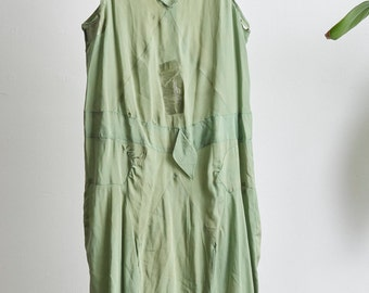 AS IS 1920s sage green silk flapper dress