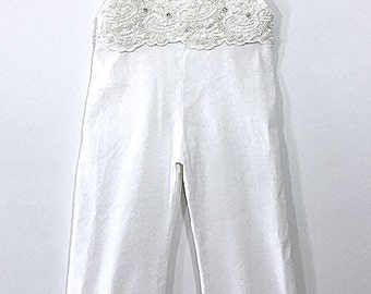 Linen and Lace Wide Leg Overalls