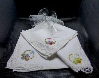 Set of 3 handkerchiefs embroidered