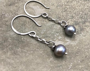 Shade of Gray - Freshwater Pearl and Sterling Silver Earrings
