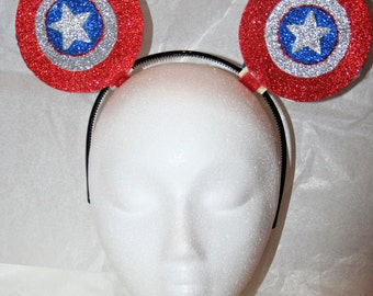 Disney Custom Inspired Captain American Mickey Mouse Ears Headband