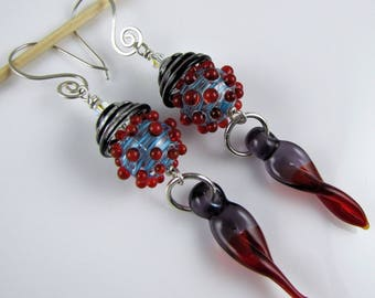 Red and Purple Handmade Glass and Sterling Silver Earrings