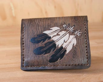 Card Holder Wallet - Women's or Men's Minimalist Wallet in the Emily Pattern with woodpecker feathers and woodgrain - White and Black